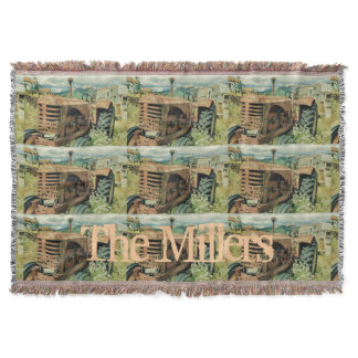 Vintage Tractor with Family Name Throw
