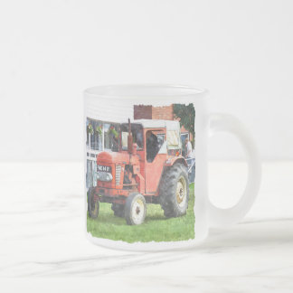 VINTAGE TRACTORS FROSTED GLASS COFFEE MUG