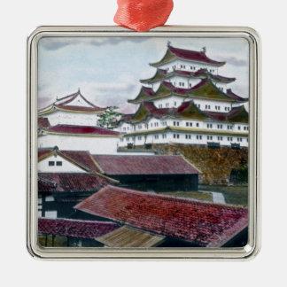 Vintage tradicional japonés de Garan Adorno Navideño Cuadrado De Metal