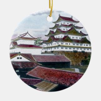 Vintage tradicional japonés de Garan Adorno Navideño Redondo De Cerámica