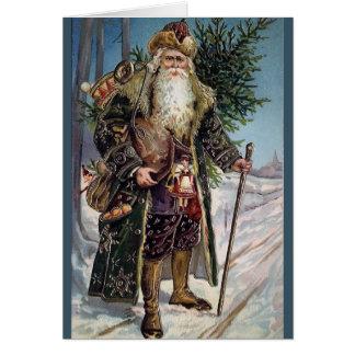 Vintage Traditional Blue Coat Santa Greeting Card