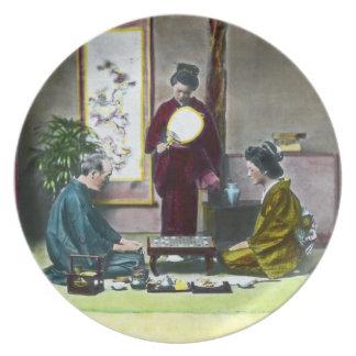 Vintage Traditional Japanese Mahjong 麻雀 Dinner Plate