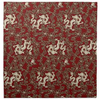 Vintage Traditional Japanese Paper Print Cloth Napkin