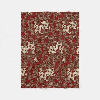Vintage Traditional Japanese Paper Print Fleece Blanket