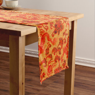 Vintage Traditional Japanese Paper Print Short Table Runner