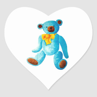 Vintage/Traditional Style Blue Painted Teddy Bear Heart Sticker
