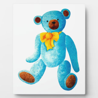 Vintage/Traditional Style Blue Painted Teddy Bear Plaque