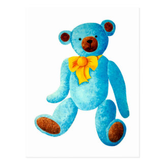 Vintage/Traditional Style Blue Painted Teddy Bear Postcard