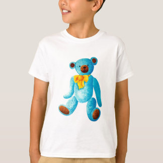 Vintage/Traditional Style Blue Painted Teddy Bear T-Shirt