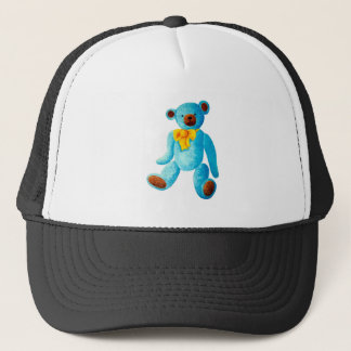 Vintage/Traditional Style Blue Painted Teddy Bear Trucker Hat