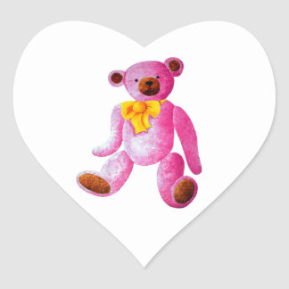 Vintage/Traditional Style Pink Teddy Bear Heart Sticker