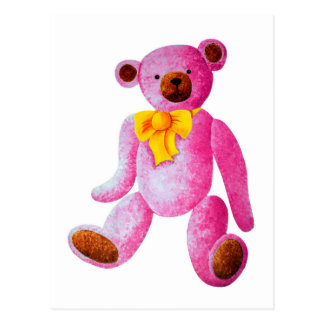 Vintage/Traditional Style Pink Teddy Bear Postcard