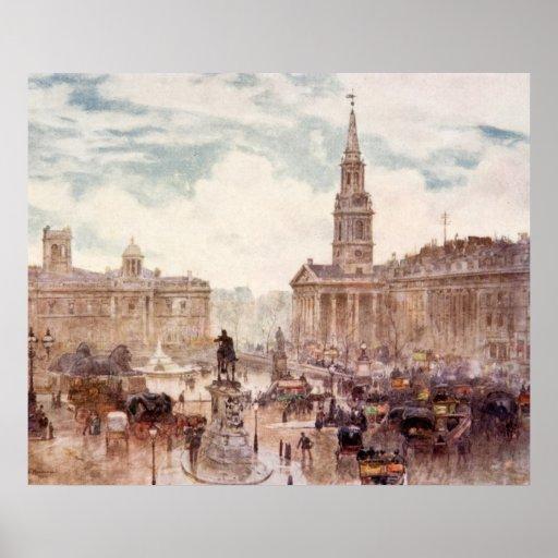 Vintage Trafalgar Square City London England Poster