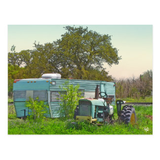 Vintage Trailer and Matching Tractor, Dale, TX Postcard