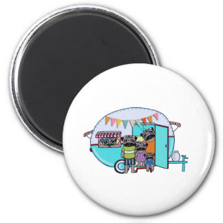 Vintage Trailer Pugs 2 Inch Round Magnet