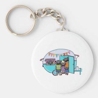 Vintage Trailer Pugs Basic Round Button Keychain