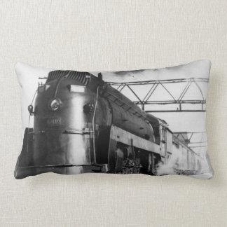 Vintage Train Art Deco Locomotive Railroad Engine Pillow