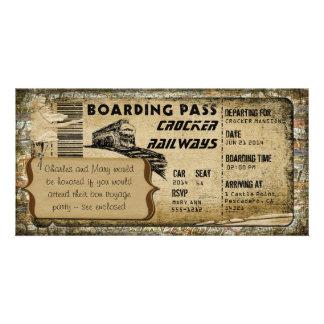 Vintage Train Boarding Pass Card