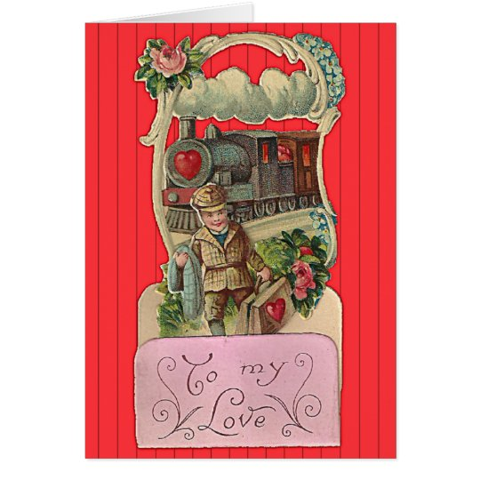 Vintage Train Conductor Valentine's Day Card