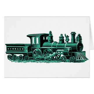 Vintage Train in Green Greeting Card