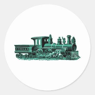 Vintage Train in Green Classic Round Sticker
