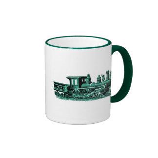 Vintage Train in Green Ringer Coffee Mug