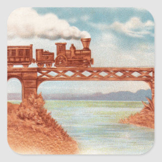 Vintage Train Locomotive Early Railroad Bridge Square Sticker