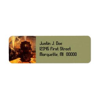 Vintage Train Locomotive RR Return address Label
