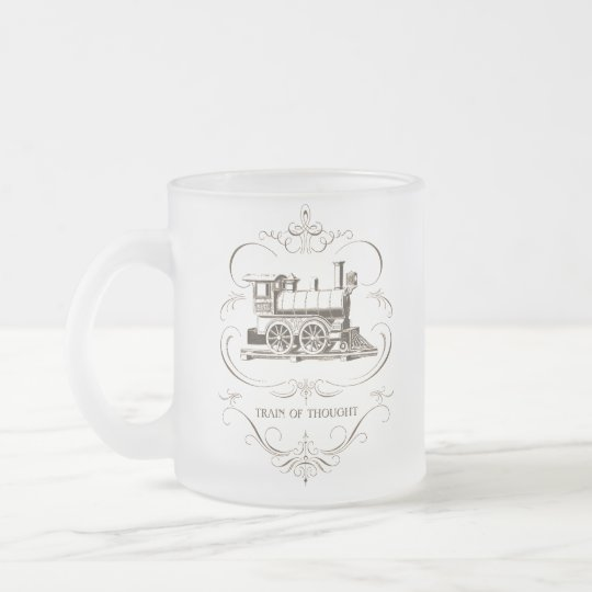 Vintage Train of Thought Frosted Glass Coffee Mug