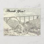 "[ Thumbnail: Vintage Train On Bridge, ""Thank You!"" Postcard ]"