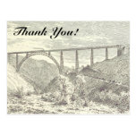 "[ Thumbnail: Vintage Train On Bridge, ""Thank You!"" Postcard ]"