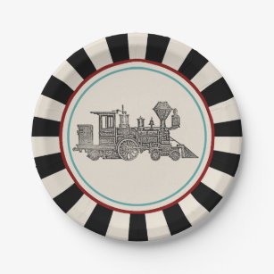 Vintage Train Paper Plate  sc 1 st  Zazzle & Steam Train Plates | Zazzle