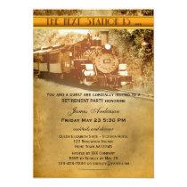 Vintage Train Retirement Party Invitation