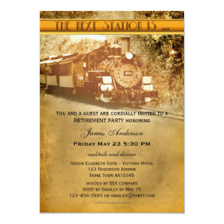 Vintage Train Retirement Party Invitation
