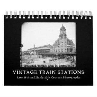 Vintage Train Station Photos 1890s - 1900s Wall Calendar