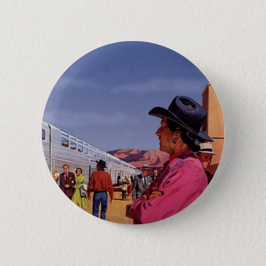 Vintage Train Station with Native American Indian Button