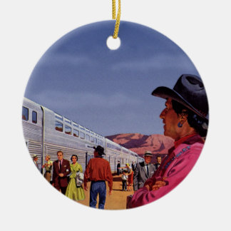 Vintage Train Station with Native American Indian Ceramic Ornament