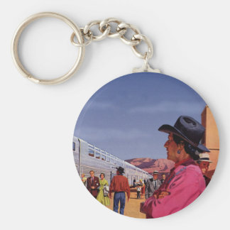 Vintage Train Station with Native American Indian Basic Round Button Keychain