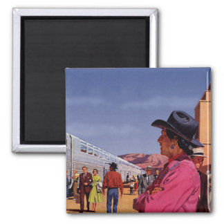 Vintage Train Station with Native American Indian Magnet