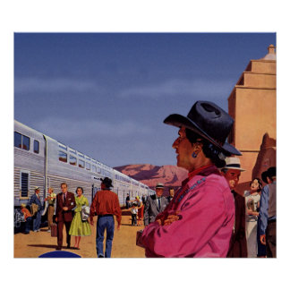 Vintage Train Station with Native American Indian Poster