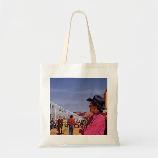 Vintage Train Station with Native American Indian Tote Bag