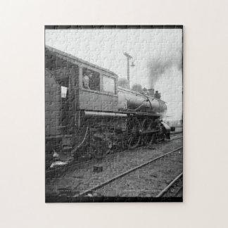 Vintage Train Steam Engine Engineer Black White Jigsaw Puzzle