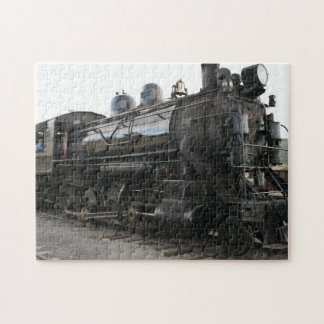 Vintage Train Steam Engine In Black and White Jigsaw Puzzle