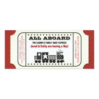 Vintage Train Ticket Baby Shower Card