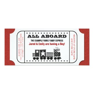 Vintage Train Ticket Baby Shower Invitation