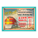 Vintage Train Ticket Birthday Party Personalized Announcements