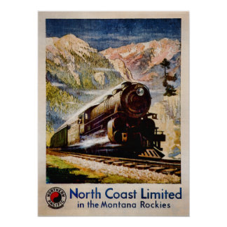 Vintage Train Travel in Montana Poster