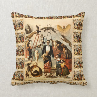 Vintage Trained Circus Dog Act Poster Throw Pillow