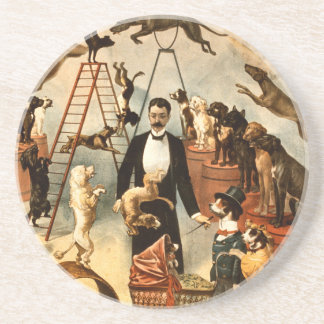 Vintage Trained Circus Dog Act Trick Dogs1899 Coaster
