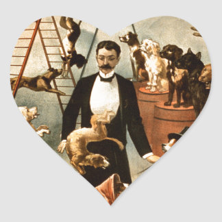 Vintage Trained Circus Dog Act Trick Dogs1899 Heart Sticker